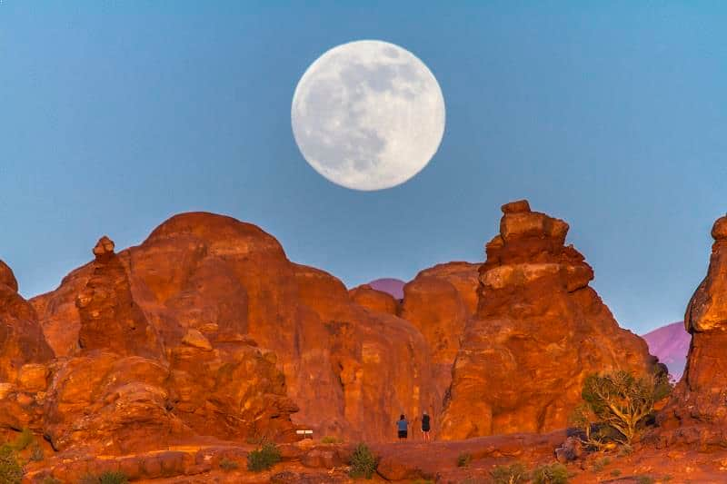 Supermoon at Turret Arch at Arches National Park