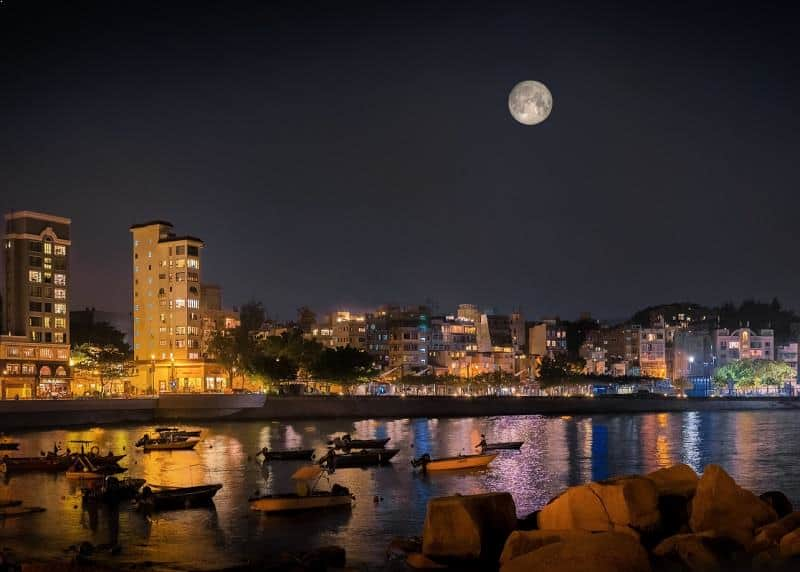 Supermoon over Stanley Waterfront, Hong Kong