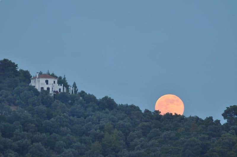 Supermoon over Skiathos, Greece