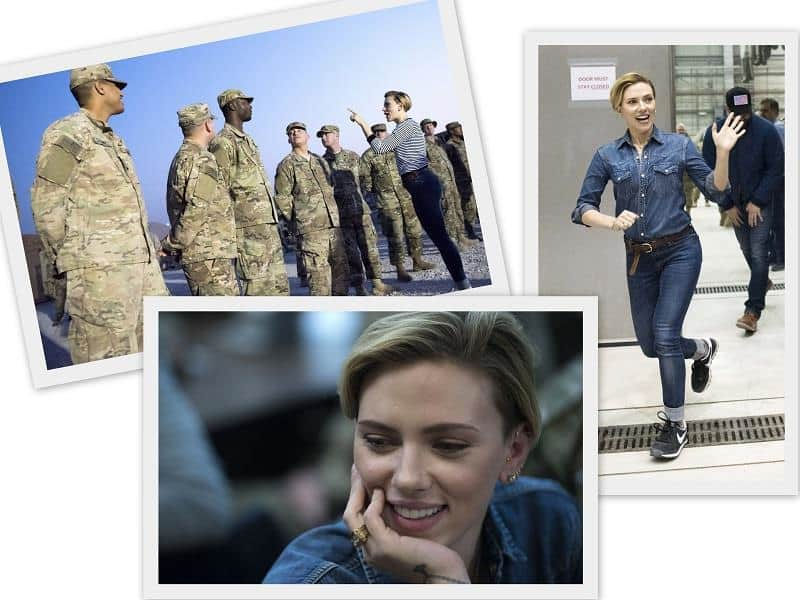 Scarlett Johansson at Al-Udeid Air Base, Qatar and Forward Operation Base Gamberi, Afghanistan