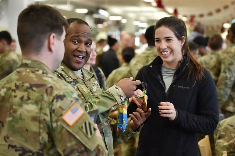 Maya DiRado meets with service members during 2016 USO Holiday Tour