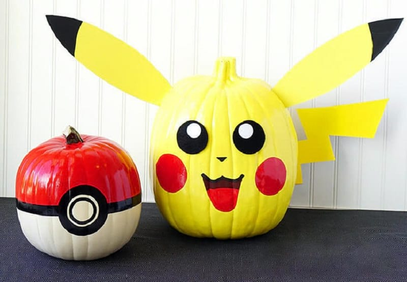 Pikachu and Pokeball Pumpkins