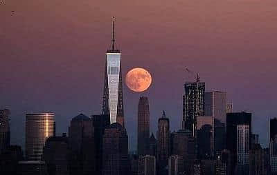 Supermoon Over New York City