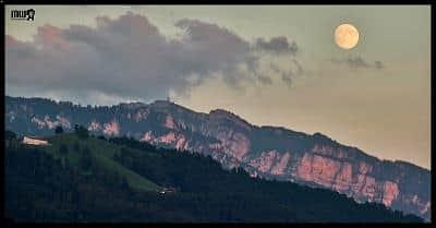 Super Moon above the Niederhorn Peak, Canton Berne, Switzerland