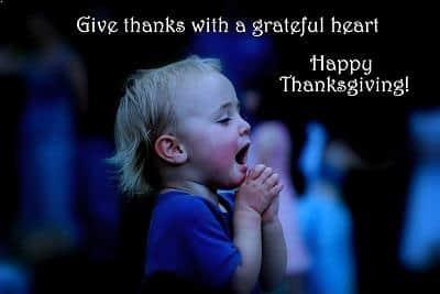 Little Girl shows gratitude in praying