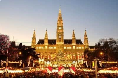 Christmas market at Vienna, Austria City Hall
