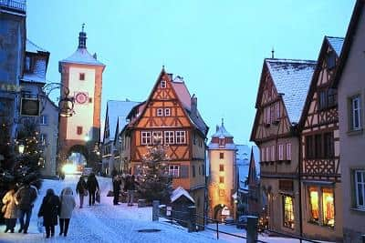 Christmas market at Rothenburg, a region of Bavaria, Germany