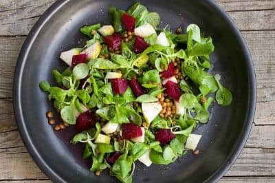 Fruit Salad Recipe: Pear, Beets and Garbanzo bean Green salad