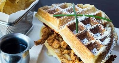 Food creations: Fried chicken waffle, Monte Cristo Waffle