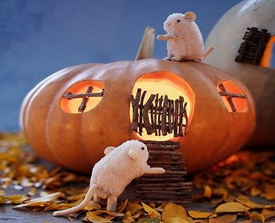 Haunted Mouse Cottage Pumpkin
