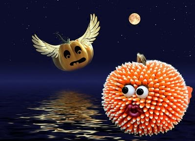 Candy Corn Pufferfish Pumpkin